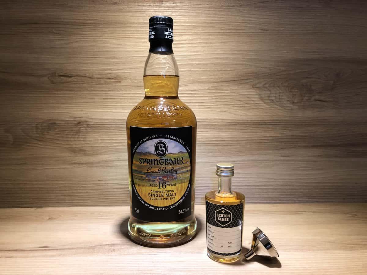 Probierflasche Local Barley 16 Jahre, ScotchSense Whisky Rarität, Springbank Distillery, Scotch Whisky teilen und kaufen, Probierflaschen