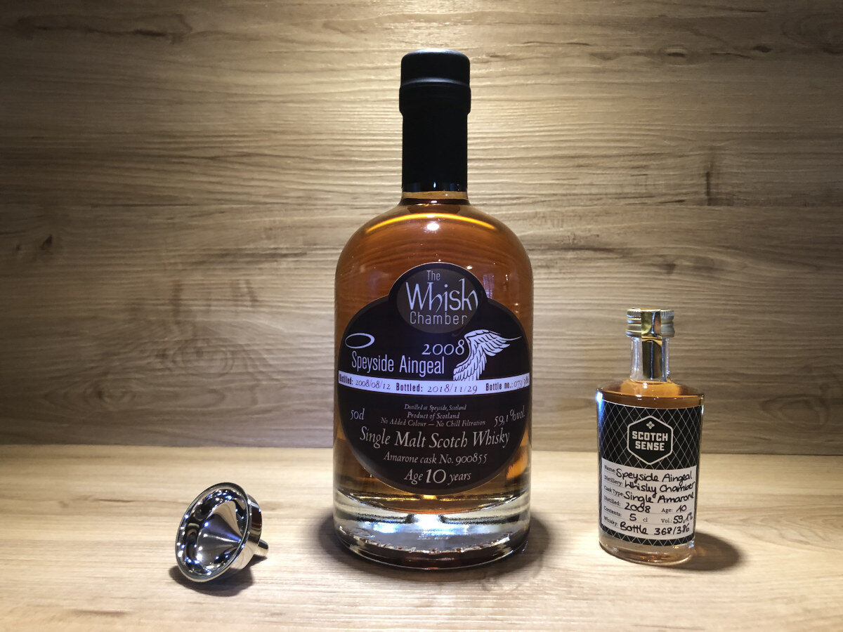 Probierflasche Speyside Aingeal, 10Jahre, limited, Amarone Single Cask, The Whisky Chamber, Scotch Whisky kaufen, Whisky Tasting Set Regionen III