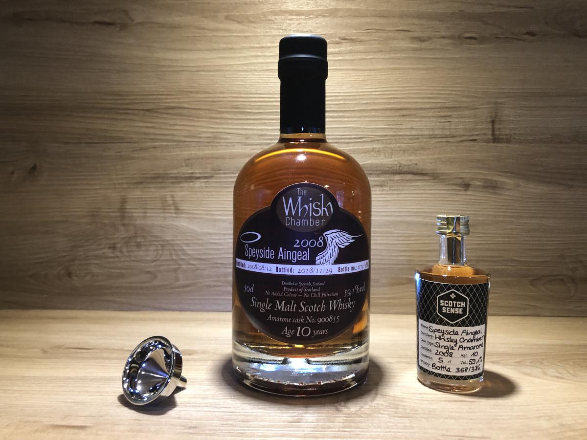 Probierflasche Speyside Aingeal, 10Jahre, limited, Amarone Single Cask, The Whisky Chamber, Scotch Whisky kaufen, Whisky Tasting Set Regionen III