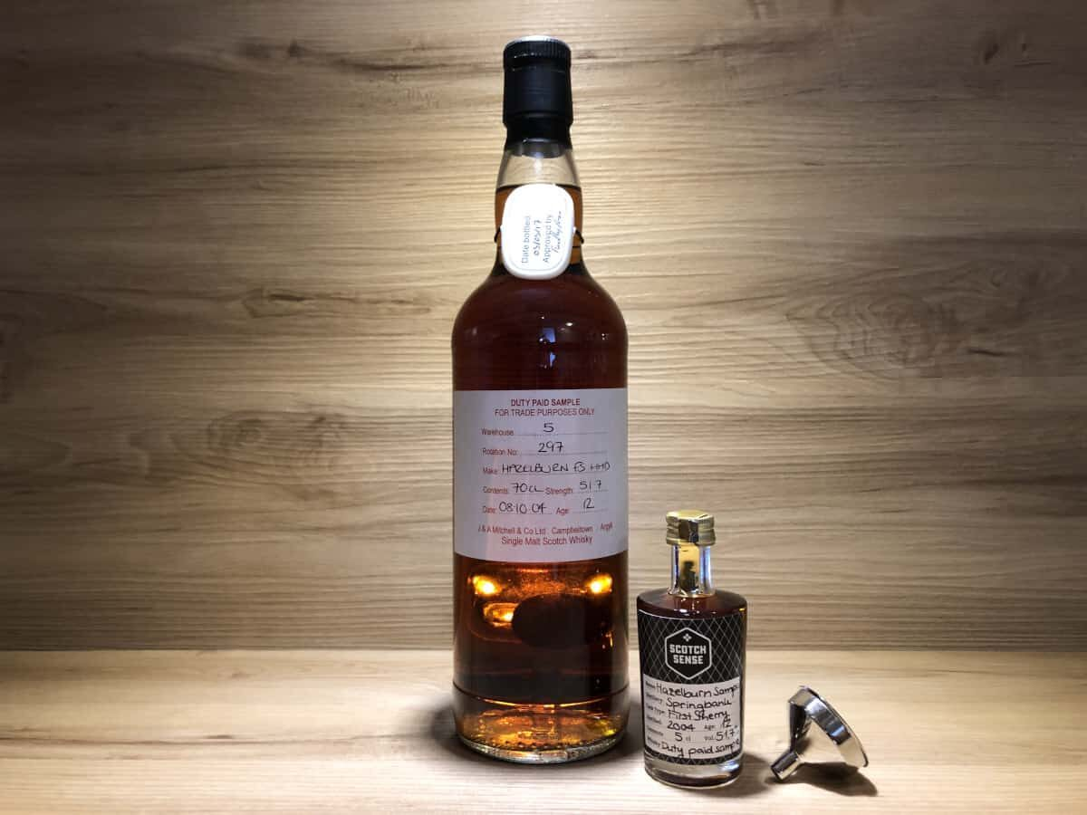 Probierflasche Hazelburn 12Jahre, Duty paid Sample, Fresh Sherry Hogshead, Springbank Distillery, Scotchsense Whisky Campbeltown