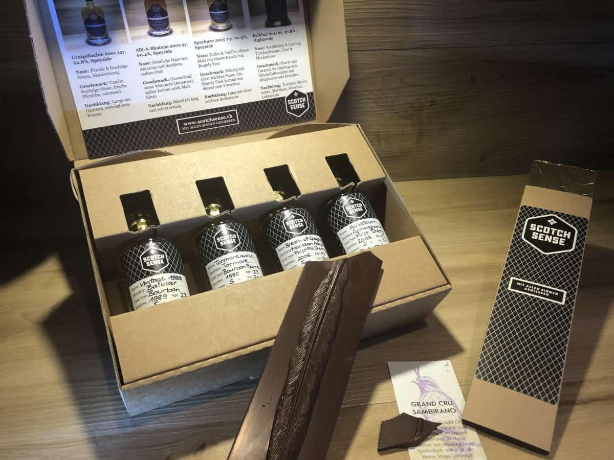 Whisky Geschenkset Schokolade kaufen, Scotch Sense