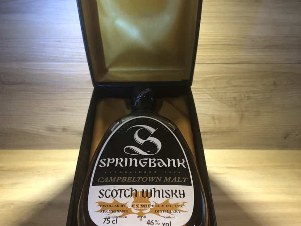 Springbank 25 pear bottle shape, 1970, Whisky Raritäten bei Scotch Sense kaufen, Whisky Tasting Set Schokolade