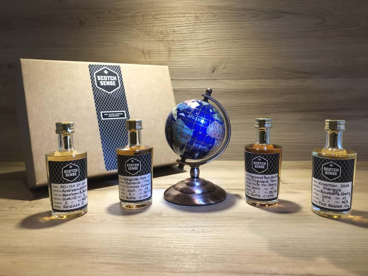 Whisky Tastingset Regionen V bei Scotchsense kaufen, Ardnamurchan AD 01.21:01, Speyside Hero IV, Highland Park 15, Kilkerran 12 2016