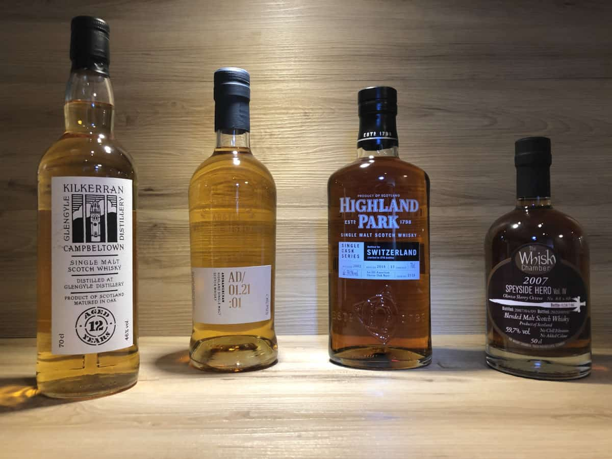Whisky Geschenkset Regionen V bei Scotchsense kaufen, Ardnamurchan AD 01.21:01, Speyside Hero IV, Highland Park 15, Kilkerran 12 2016