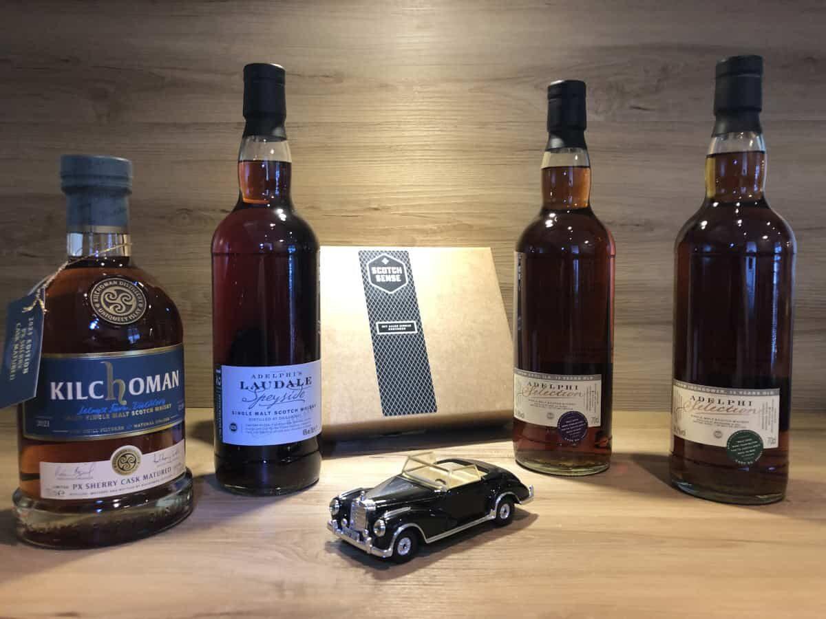 Scotch Sense, Whisky Tastingset Dark Sherry Episode II, Kilchoman PX Sherry, Adelphi's Laudale Batch 3, Caol Ila Adelphi 12, Inchgower Adelphi 13