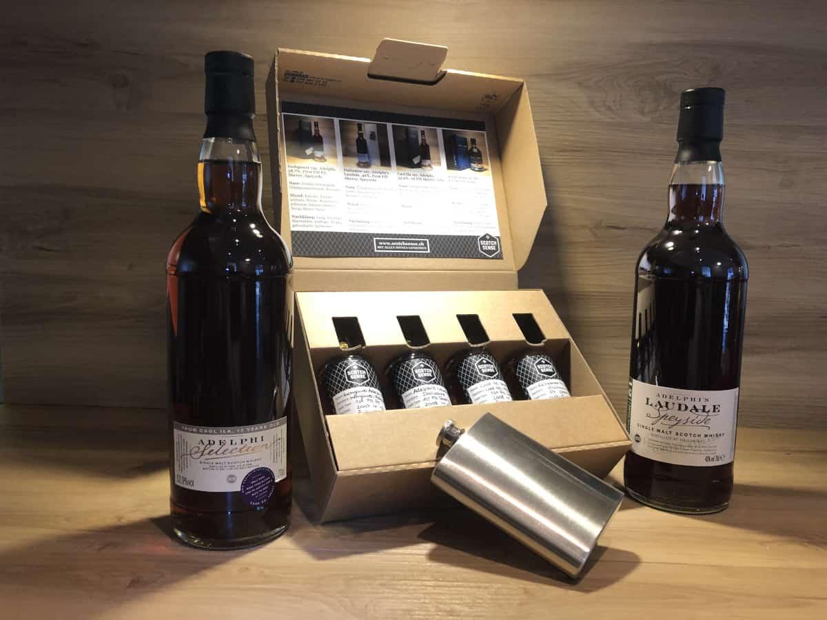 Whisky Tastingset Dark Sherry Episode II, Kilchoman PX Sherry, Adelphi's Laudale Batch 3, Caol Ila Adelphi 12, Inchgower Adelphi 13, Scotch Sense Whisky online teile und kaufen
